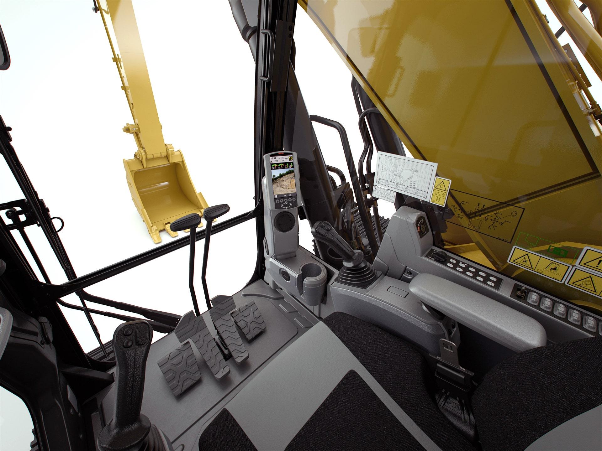 Vệ sinh bề mặt các thiết bị trong cabin máy công trình Cat