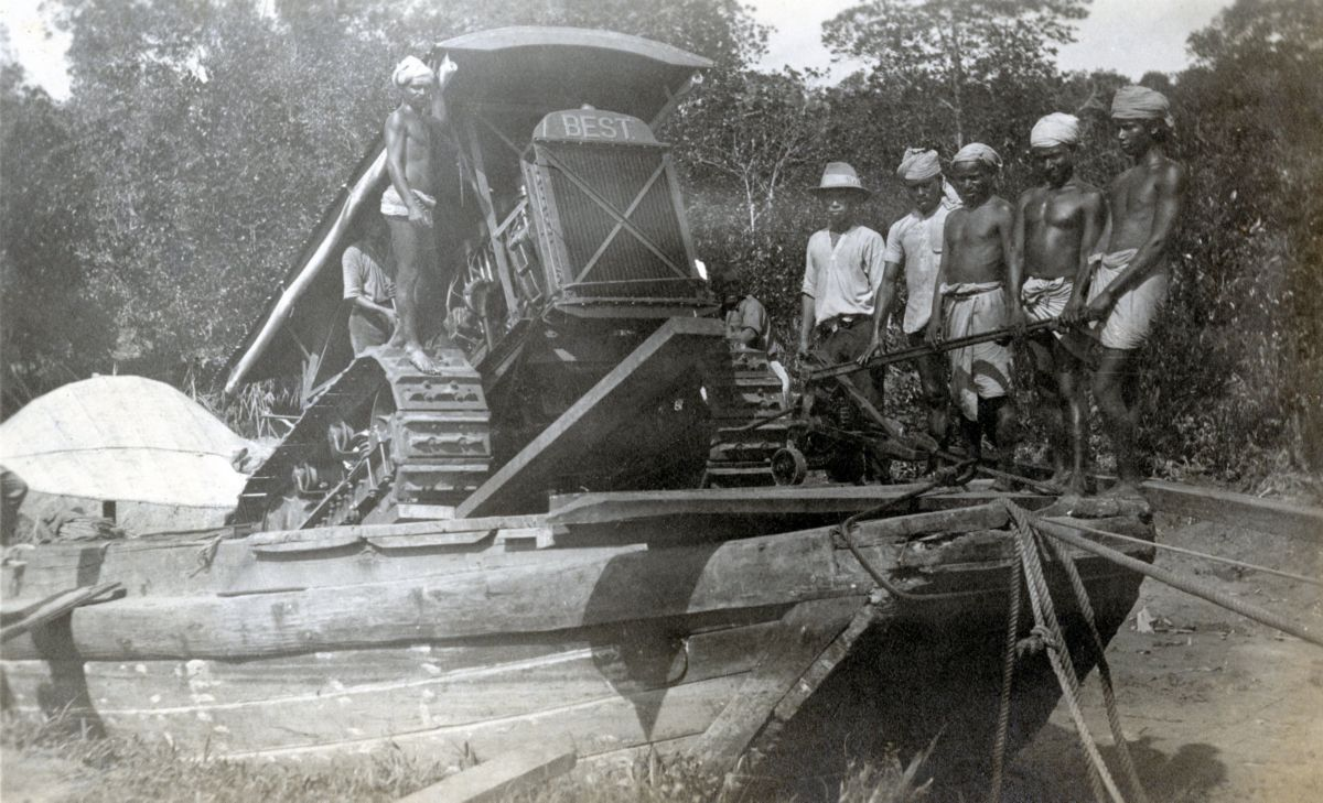 C.L. Best 60 track-type tractor working in Malaysia, ca. 1922